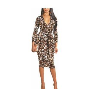 Dresses & Skirts - NWT Sexy Leopard Deep V Neck Long Sleeve Zip Dress